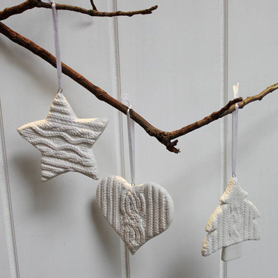 original_three ceramic knitted christmas decorations - Ceramic Christmas Decorations